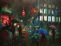 Night Rain in NY Fine Art Print