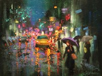 Night Rain in Village Fine Art Print