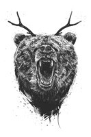 Angry Bear With Antlers Fine Art Print
