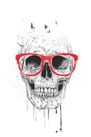 Skull With Red Glasses Fine Art Print