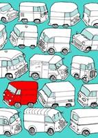Odd Ones - Red Van Fine Art Print
