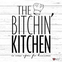 Bitchin Kitchen - White Wood Fine Art Print