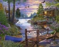 Footbridge by the Lake Fine Art Print