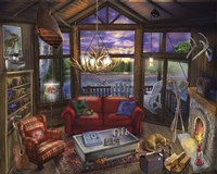 Evening In The Cabin Fine Art Print