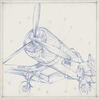 Airplane Mechanical Sketch II Fine Art Print