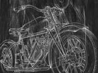 Motorcycle Mechanical Sketch I Fine Art Print