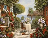 Terrazza Sedia e Vaso a Specchio Fine Art Print