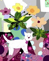 White Kitty And Flowers Fine Art Print