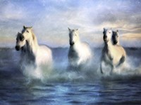 Running Horses Crashing Waves Fine Art Print