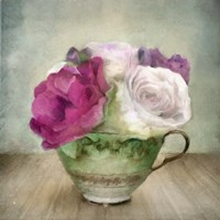 Green Teacup and Roses Vintage Bouquet Fine Art Print
