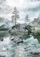 Lake Mountain and Pine Tree landscape Fine Art Print