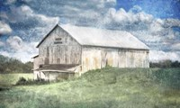 Old White Barn and Blue Sky Fine Art Print