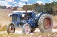 Harvest Time Blue Tractor Fine Art Print