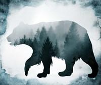 Moody Blue Bear Silhouette Fine Art Print