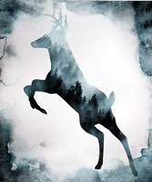 Moody Blue Deer Silhouette Fine Art Print
