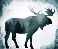 Moody Blue Moose Silhouette Fine Art Print