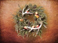Christmas Wreath with Deer Antlers Fine Art Print