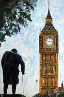 London Big Ben and Sir Winston Churchill Fine Art Print