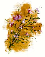 Pink Blossoms On Yellow Fine Art Print