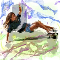 Woman Skateboarder Fine Art Print