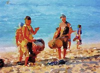 Beach Drummers Fine Art Print