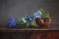 Copper Bowl With Blue Hydrangea Fine Art Print