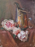 Roses & Copper Jug Fine Art Print