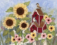 Sunflower Birdhouse Fine Art Print