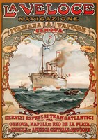 Italian Steamship Travel Ad 1893 Fine Art Print