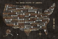 US City Map Black Fine Art Print