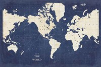 Blueprint World Map - No Border Fine Art Print