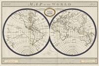 Torkingtons World Map with Indigo Fine Art Print