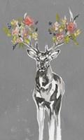 Deer & Flowers II Fine Art Print