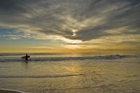 Sunrise On Surfer With Board Walking Through Shore Waves, Cape May NJ Fine Art Print