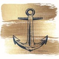 Brushed Gold Anchor Fine Art Print