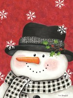 Holly & Black Plaid Snowman Fine Art Print