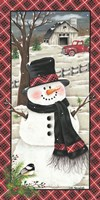 Farmhouse Snowman Fine Art Print