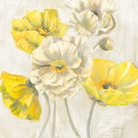 Gold and White Contemporary Poppies Neutral Fine Art Print