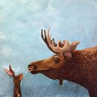 Moose and Rabbit Fine Art Print