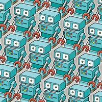 Blue Robo Army Fine Art Print