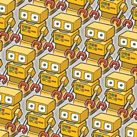 Yellow Robo Army Fine Art Print
