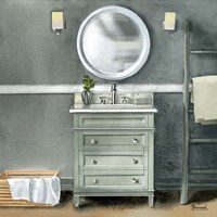 Smoky Gray Bath II Fine Art Print