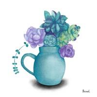 Turquoise Succulents V Fine Art Print