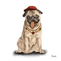 Pugs in Hats I Fine Art Print
