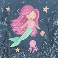 Mermaid and Octopus Navy I Fine Art Print