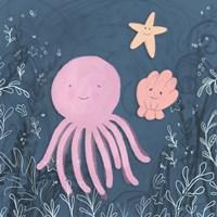Mermaid and Octopus Navy II Fine Art Print