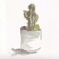 Watercolor Cactus Still Life II Fine Art Print