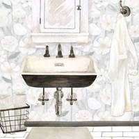 White Floral Bath I Fine Art Print