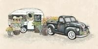 Vintage Flower Truck and Trailer Fine Art Print