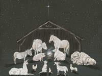 Animal Nativity Scene Fine Art Print